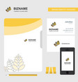 wheat business logo file cover visiting card and vector image vector image