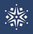 white snowflake on blue background vector image vector image
