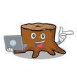 with laptop tree stump character cartoon vector image vector image