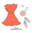 womans clothes shopping concept flatlay closet vector image