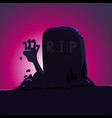 zombie hand rising from grave - cartoon vector image