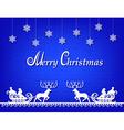 Santa Claus paper silhouette blue background vector image