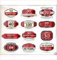 Anniversary red labels vector image vector image