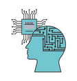 artificial intelligence human profile motherboard vector image vector image