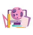 back to school computer planet paper and ruler vector image vector image