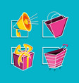 bag and cart shopping with set icons vector image