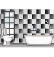 Bathroom with black and white tiles vector image