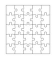 blank jigsaw puzzle 25 pieces simple line art vector image