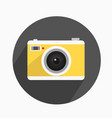 camera yellow icon with long shadow vector image vector image