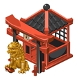 Chinese-style pavilion and guardian Golden lion vector image vector image