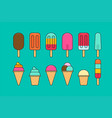 colorful different ice cream icon vector image