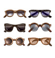 colorful fashionable hipster sunglasses set vector image