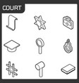 court outline isometric icons vector image vector image