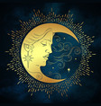 crescent moon and stars in antique style hand vector image vector image