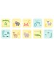 cute a-j alphabet cards with cartoon rainforest vector image vector image