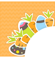 Eastern carrots and eggs pattern on a orange vector image