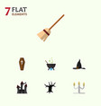 flat icon festival set of broom casket witch cap vector image vector image