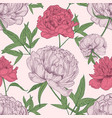 floral seamless pattern with beautiful peony vector image vector image