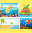 four different scene tropical beach and vector image