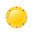 golden gambling chip with suits heart diamond vector image vector image