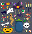 halloween elements set design with rough lines vector image