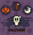 halloween flat concept icons vector image vector image