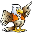 Hand-drawn of an Pointing Eagle vector image