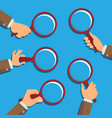 hand holding magnifying glass information vector image