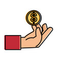 hand human with coin money isolated icon vector image