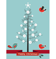 Happy Christmas winter tree background vector image