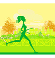 Jogging girl silhouette n summer vector image