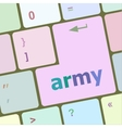 Keyboard with enter button army word on it vector image vector image