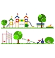 Kids playground color set Swings roundabouts vector image