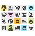 kindergarten school set black icons signs and vector image