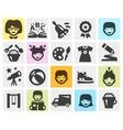 kindergarten school set black icons signs vector image