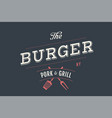 logo of burger bar vector image vector image