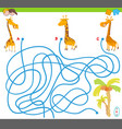 maze game with giraffes and palm trees vector image vector image
