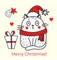 merry christmas greeting card with a cat vector image vector image