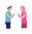 muslim boy and girl greeting to each other cartoon vector image vector image