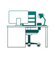 office with computer blue lines vector image vector image