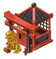 pavilion and guardian golden lion vector image vector image