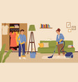 people cleaning living room family washing floor vector image vector image