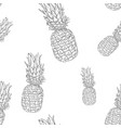 pineapples hand drawn outline sketch as seamless vector image vector image