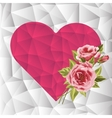 Pink Triangle Geometrical Heart with roses vector image