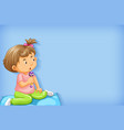 plain background with little girl playing in bed vector image