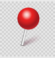plastic pushpin pin with shadow isolated on vector image