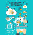 poster for secure online data exchange vector image