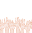 raised hands horizontal seamless pattern vector image vector image