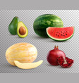 realistic fruits set vector image vector image