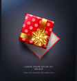 red pea gift box with a gold bow vector image vector image